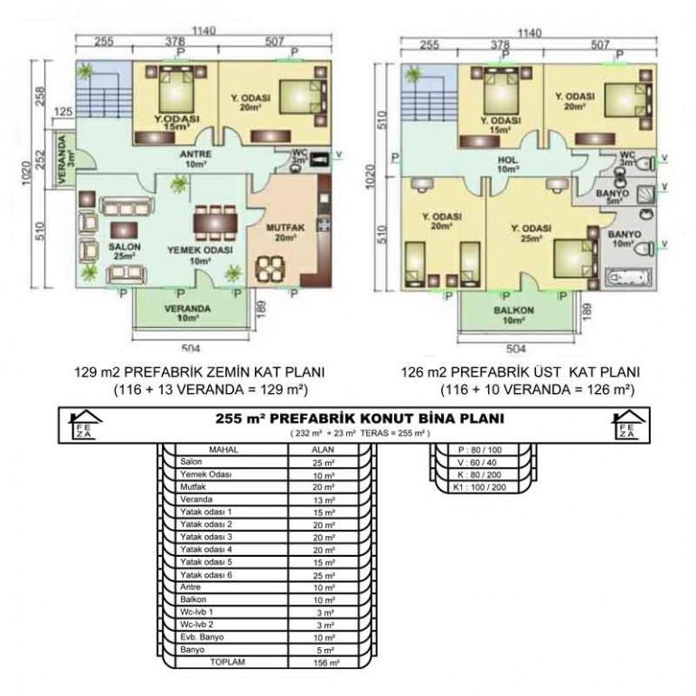 255 m2 Prefabrik Konut