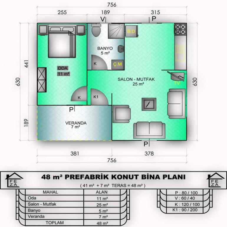 48m2 Prefabrik Konut