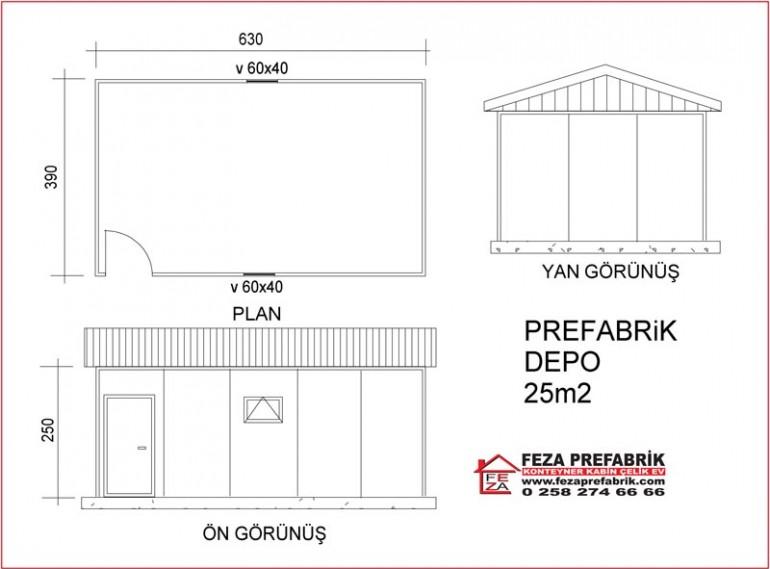 Prefabrik Depo 25m2