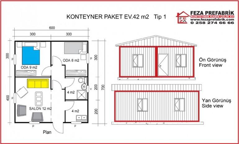 Konteyner Paket Ev 42 m2 Tip 1