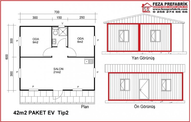 Konteyner Paket Ev 42 m2 Tip 2