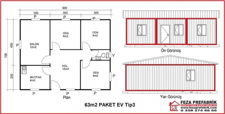 Konteyner Paket Ev 42 m2 Tip 3
