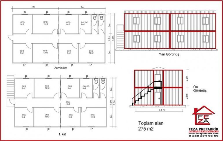 İki Katlı Konteyler 275 m2