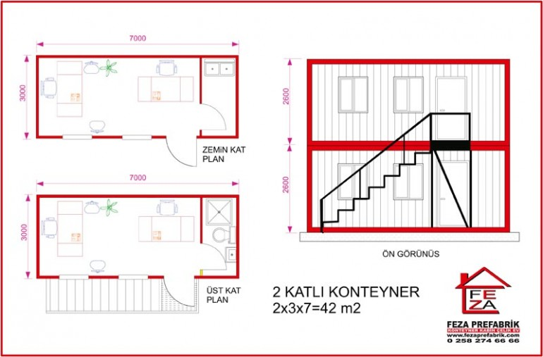 İki Katlı Konteyler 42 m2