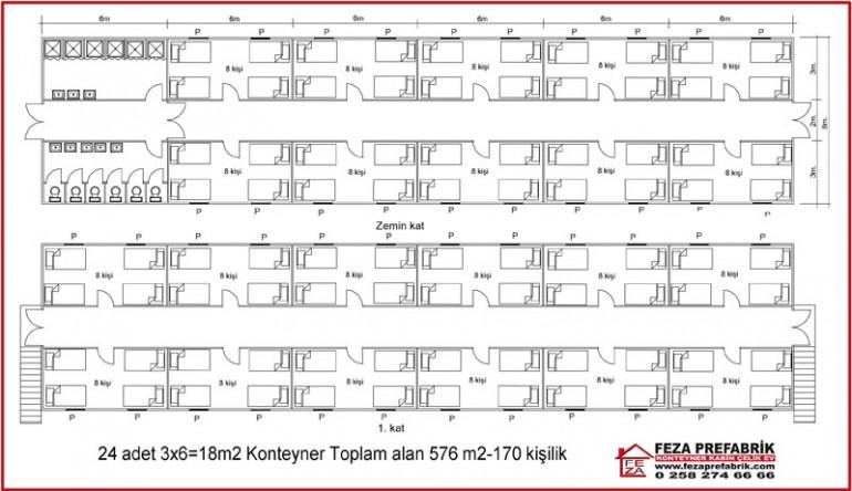 İki Katlı Konteyler 576 m2