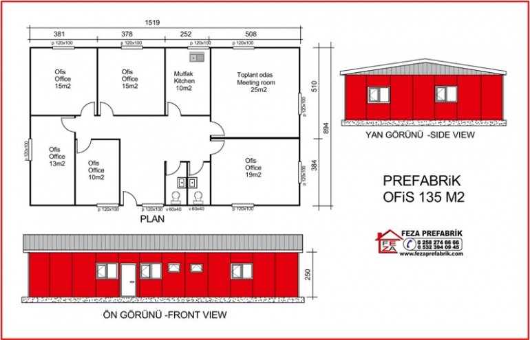 Prefabrik Ofis 135m2