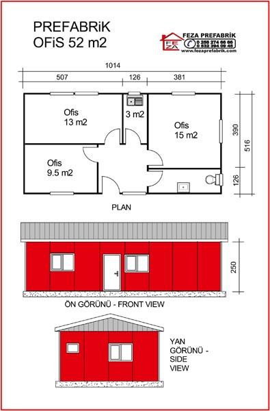 Prefabrik Ofis 52m2