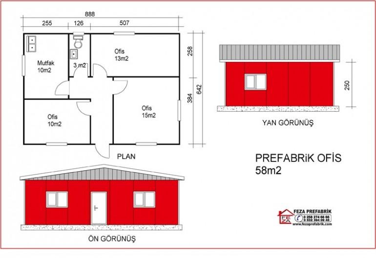 Prefabrik Ofis 58m2