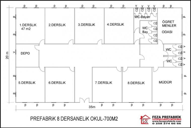 Prefabrik Okul 700m2