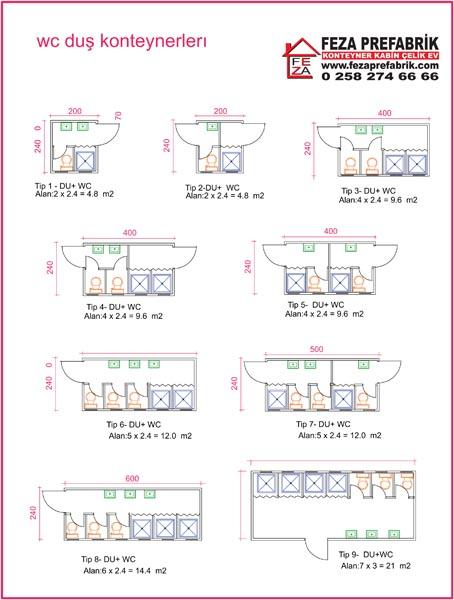 WC-Duş Konteynerleri