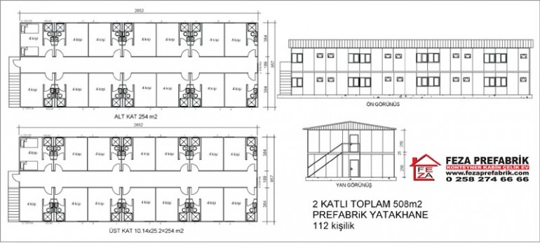Prefabrik Çift Katlı Yatakhane 508m2
