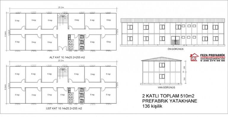 Prefabrik Çift Katlı Yatakhane 510m2