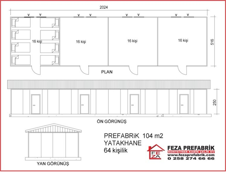 Prefabrik Yatakhane 104m2