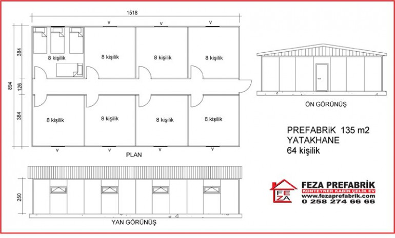 Prefabrik Yatakhane 135m2