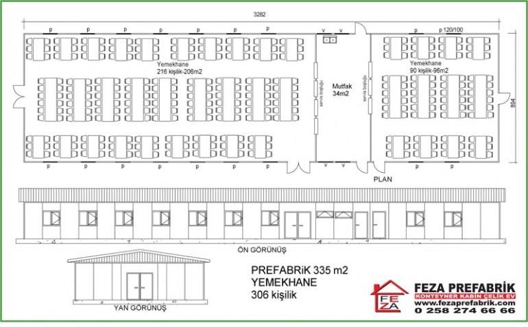 Prefabrik Yemekhane 335m2